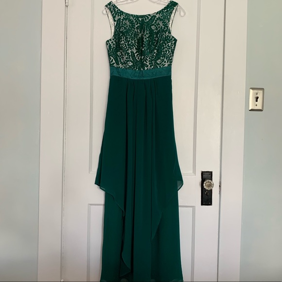 Dresses & Skirts - Dark green lace and chiffon evening gown